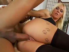 Blonde Milf Dressed In Black Stockings Spreads Her Butt Cheeks And Gets A Dick Between Her Pussy Lips