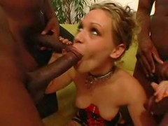 Blonde In Stockings Fucking With Four Black Guys
