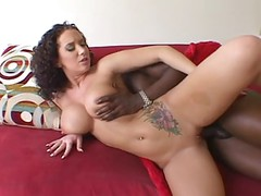 Fine Brunette With Big Breasts Satisfies Black Guy With Her Mouth And Pussy