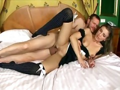 Girl In Maid Uniform Gives An Awesome Blowjob Before Getting Fucked In Both Holes Ending With A Facial