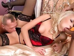 Gorgeous Blonde In Black Stockings Gets Double Penetrated By Two Guys